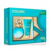 Benetton Colors Blue Eau De Toilette Vaporisateur 50ml Coffret 3 Produits 2018