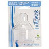 Dr Brown's Tetina Nivel 2 Boca Ancha Tetina De Silicona +3 Meses, 2 unidades
