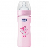 Chicco Well-Being Biberón Silicona PP Flujo Medio Rosa 2m+ 250ml