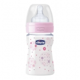 Chicco Well-Being Biberón PP Silicona Flujo Normal Rosa 0m+ 150ml